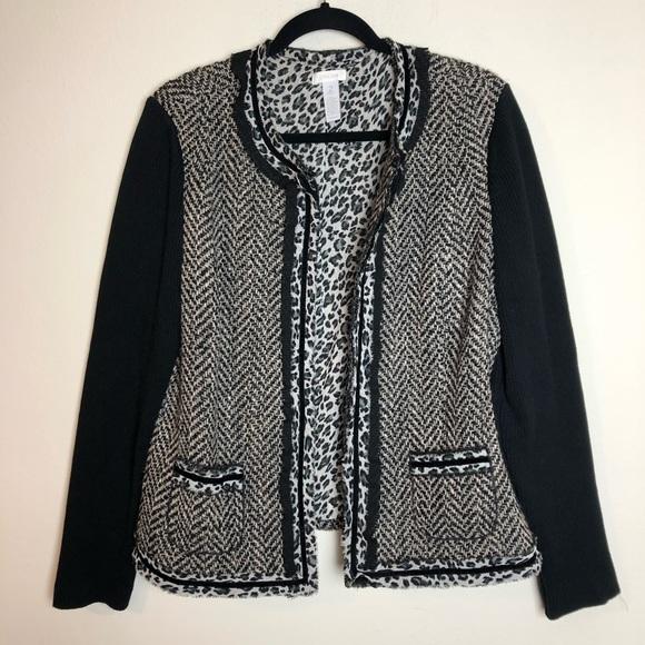 f1e015536ba7 Chico's Jackets & Coats   Chicos Sz 2 Leopard Cardigan Jacket   Poshmark